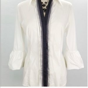 BCBGMAXAZRIA White button up blouse / bell sleeves